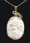"""Hooded Woman"" Mammoth Ivory Pendant 14k Gold"