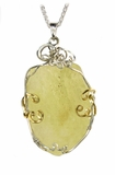 Large Libyan Glass Jewelry Sterling Silver with 14K Gold