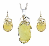 Libyan Desert Glass Jewelry Set - Sterling Silver - New!