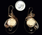 Mammoth Ivory Rose Earrings - 14k Gold