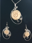 Mammoth Ivory Rose Sterling Silver Set