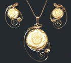 Mammoth Rose Jewelry Set 14k Gold