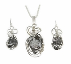 Meteorite Necklace Pendant with matching Earrings Set