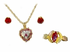 Rubies in Heart-shaped Pendant Jewelry Set