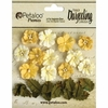 Petaloo - Printed Darjeeling Collection - Floral Embellishments - Petites - Teastained Yellow