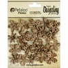Petaloo - Printed Darjeeling Collection - Floral Embellishments - Wild Mini Blossoms - Craft Brown