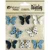 Petaloo - Printed Darjeeling Collection - Mini Butterflies - Teastained Blue