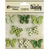 Petaloo - Printed Darjeeling Collection - Mini Butterflies - Teastained Greens