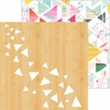 Pinkfresh Studio - Happy Things Collection - 12 x 12 Double Sided Paper - Rustic Triangles