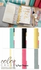 Websters Pages - Color Crush Collection - Personal Planner Binder - Teal and White Stripe, COMING SOON