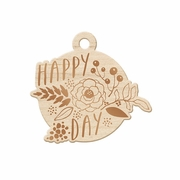 Sheer Metallic - Wood Tag - Happy Day