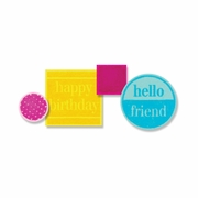 Sizzix� Framelits Die Set 12PK w/Stamps - Friendly Phrases