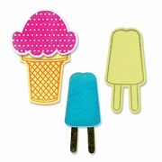 Sizzix Framelits Die Set 8PK w/Stamps - Ice Cream