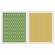 Sizzix� Texture Fades� Embossing Folders 2PK - Chevron & Lattice Set by Tim Holtz�