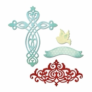 Sizzix Thinlits Dies - Cross, Dove, Banner & Border