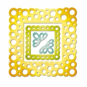 Sizzix Thinlits Dies - Frame Layers, Scallop Polka Dot