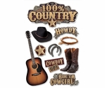 100% Country 3D Sticker