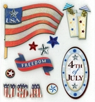 4th of July Dimensional Sticker