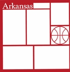 Basketball: Arkansas 12 x 12 Overlay Laser Die Cut