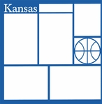 Basketball: Kansas 12 x 12 Overlay Laser Die Cut