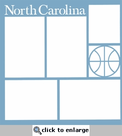Basketball: North Carolina 12 x 12 Overlay Laser Die Cut