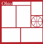 Basketball: Ohio 12 x 12 Overlay Laser Die Cut