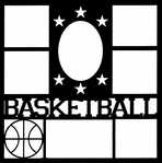 Basketball Star Frame 12 x 12 Overlay Laser Die Cut-<font color=red> <b>we ♥ this</b></font>