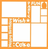 Birthday Words 12 x 12 Overlay Laser Die Cut