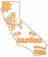 California Outline With Images Laser Die Cut
