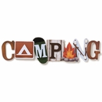 "Camping Stacked Statement Stickers 2.5"""" x 10"""""