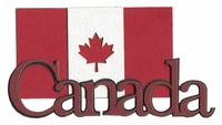 Canada With Flag Laser Die Cut