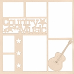 Country Music Guitar 12 x 12 Overlay Laser Die Cut