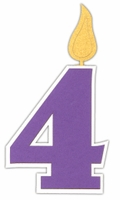 Custom Birthday Number 4 Candle Laser Die Cut
