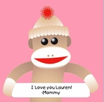 Custom Sock Monkey Pink 12 x 12 Paper