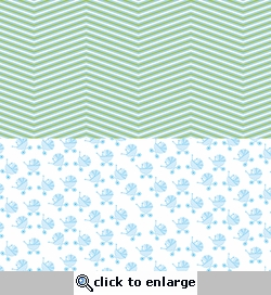 Digital Download: Oh Baby!: Blue Strollers and Chevrons 12 x 12 Paper