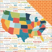 Discover USA: Discover USA Map 12 x 12 Double Sided Cardstock