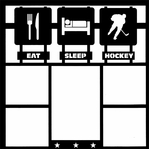 Eat, Sleep, Hockey 12 x 12 Overlay Laser Die Cut