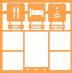 Eat, Sleep, Party 12 x 12 Overlay Laser Die Cut