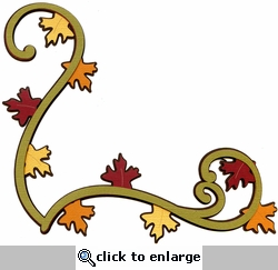 Fall Swirly Leaves Page Corner Laser Die Cut