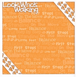 First: Look Who's Walking 12 x 12 Overlay Quick page Laser Die Cut