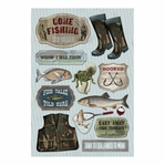 Fishing: Wishin' I Was Fishin'  Cardstock Stickers