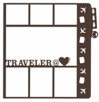 General Travel: Traveler At Heart File Tab 12 x 12 Overlay Laser Die Cut