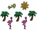 Glitter Palm Trees and Flamingos Buttons