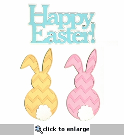 Happy Easter Chevron Bunnies Laser Die Cut