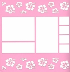 Hibiscus Border 12 x 12 Overlay Quick Page Laser Die Cut