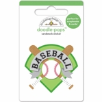 Home Run: Baseball Insignia Doodle-Pops 3D Stickers