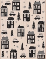 House and Home Background Woodblock Stamp