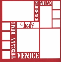 Italy Words 12 x 12 Overlay Laser Die Cut