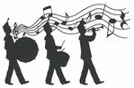 Marching Band with Music Notes Laser Die Cut