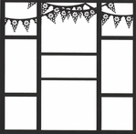 Mexican Flags 12 x 12 Overlay Laser Die Cut